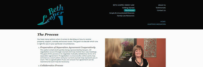 Beth Leaper Family Law, website design, homepage screenshot